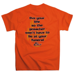 No Regrets Preacher tee shirt [orange] back