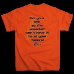 No Regrets Preacher tee shirt [orange] back